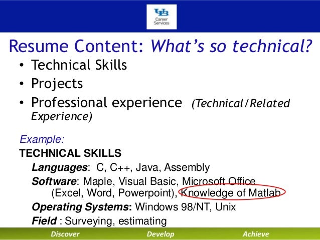 university at buffalo career services technical resumes and cover let…   resume content  what    s so technical