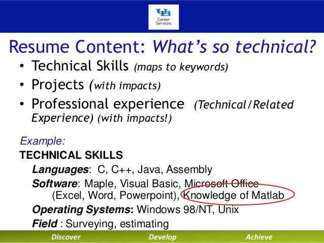 writing your technical resume    project leadership     resume content  what    s so technical