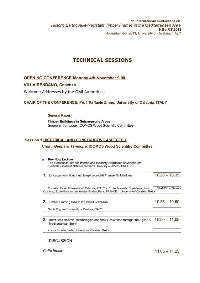 1st International Conference on  Historic Earthquake-Resistant Timber Frames in the Mediterranean Area H.Ea.R.T.2013 Novem...