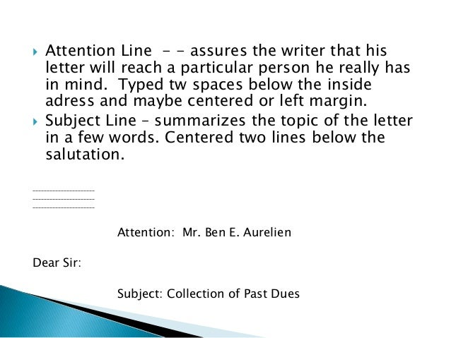 Where do you put the attention line on an envelope?