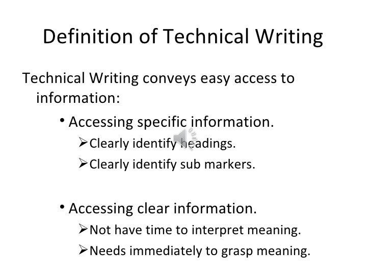 what is technical writing class