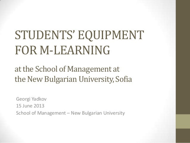 STUDENTS' EQUIPMENT FOR M-LEARNING