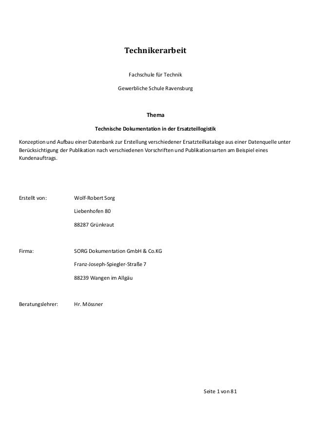 Technikerarbeit Fachschule für Technik Gewerbliche Schule Ravensburg  Thema Technische Dokumentation in der Ersatzteillogi...