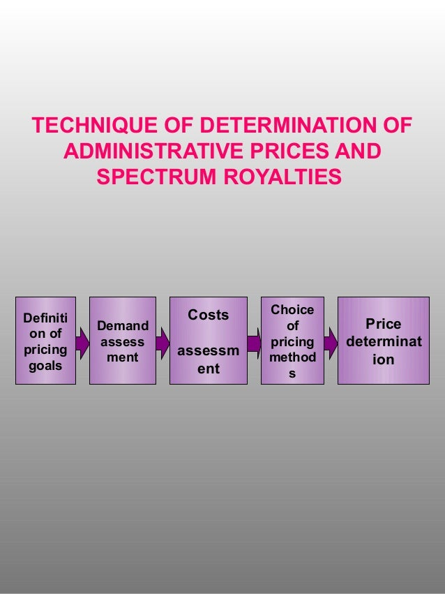 Technique of determination of administrative prices and spectrum royalties