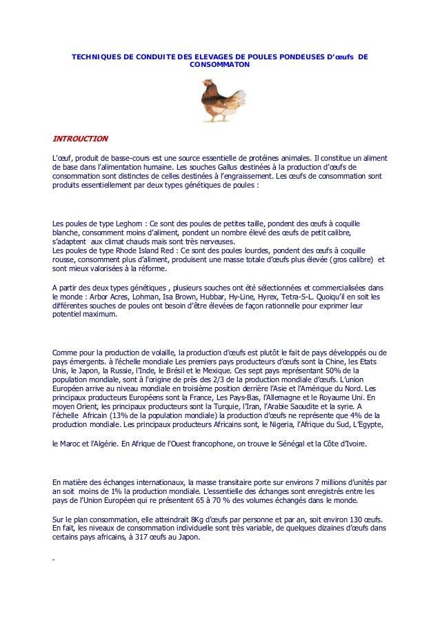 TECHNIQUES DE CONDUITE DES ELEVAGES DE POULES PONDEUSES D'œufs DE CONSOMMATON INTROUCTION L'œuf, produit de basse-cours es...