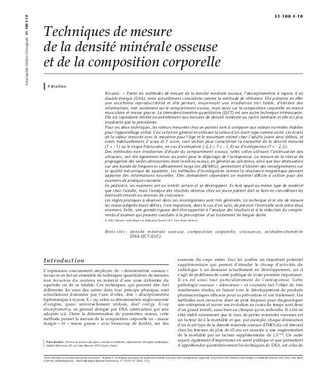 Techniques de mesure  de la densité minérale osseuse  et de la composition corporelle  P Braillon  Résumé. – Parmi les mét...