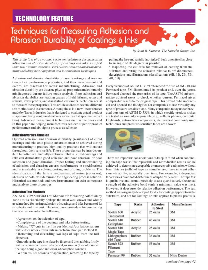 Techniques For Measuring Adhesion Abrasion Durability Of Coatings Inks By Scott R. Sabreen