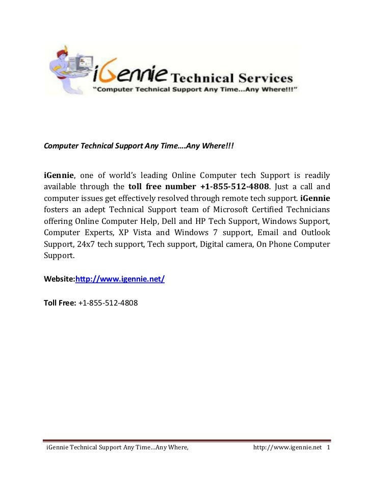 Computer Technical Support Any Time….Any Where!!!iGennie, one of world's leading Online Computer tech Support is readilyav...