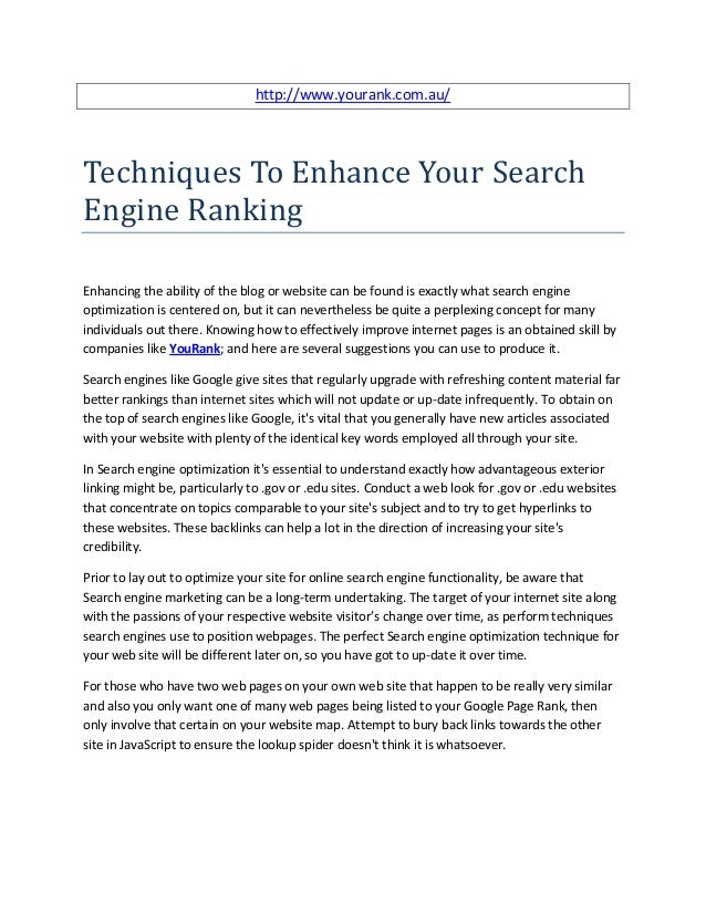 Techniques to enhance your search engine ranking