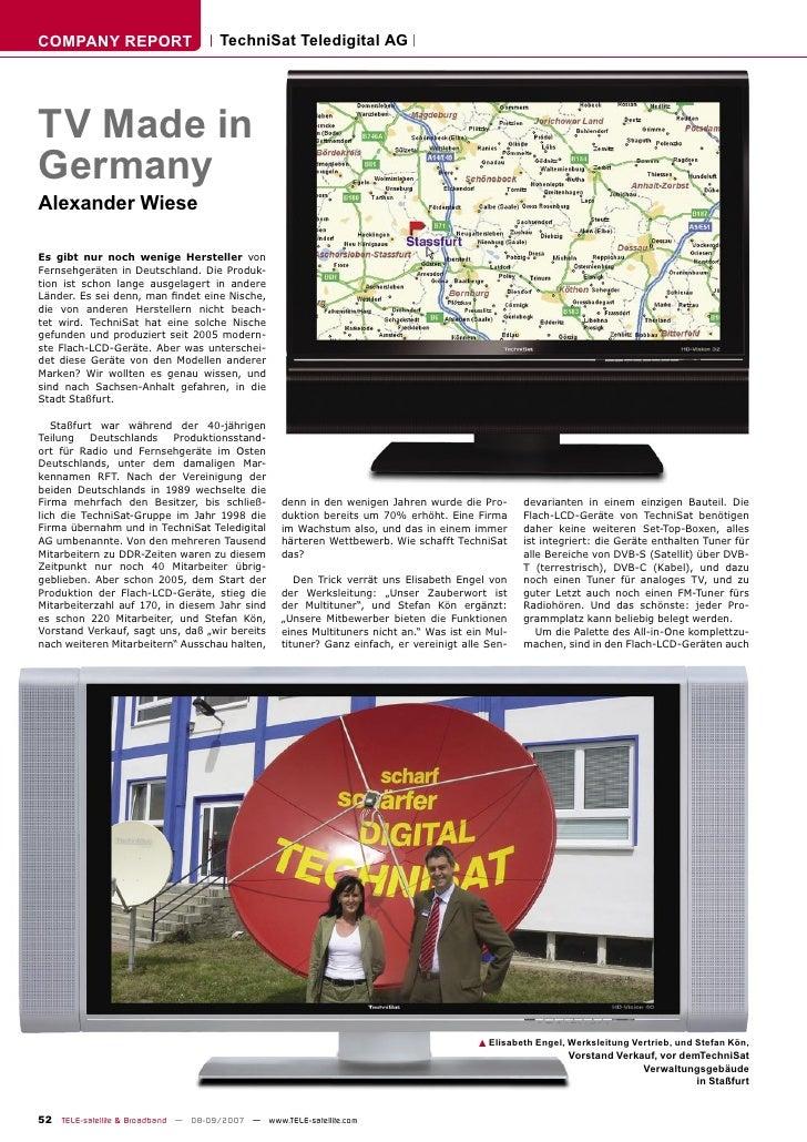 COMPANY REPORT                        TechniSat Teledigital AG     TV Made in Germany Alexander Wiese  Es gibt nur noch we...