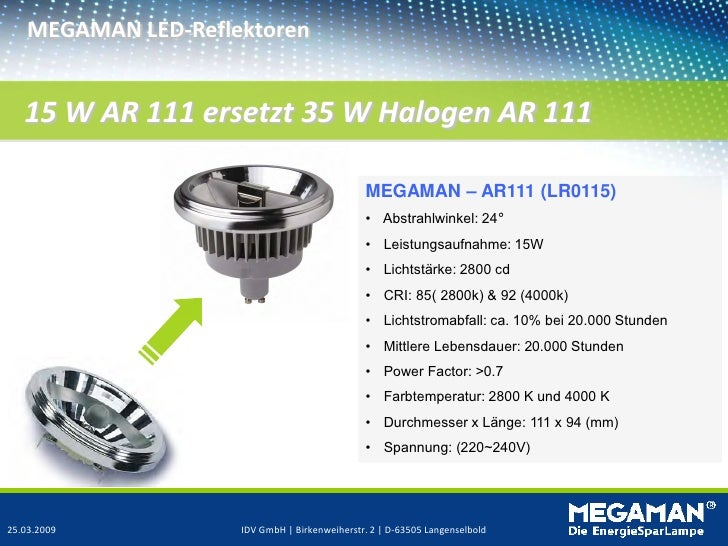 MEGAMAN LED-Reflektoren   15 W AR 111 ersetzt 35 W Halogen AR 111                                               MEGAMAN – ...