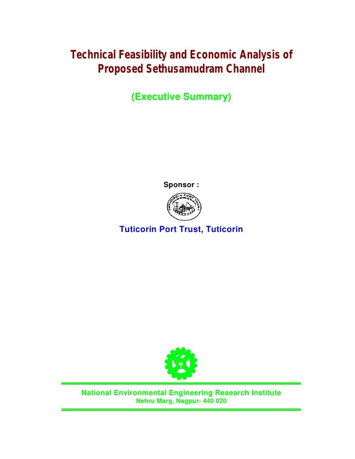 Technical Feasibility and Economic Analysis of      Proposed Sethusamudram Channel                 (Executive Summary)    ...