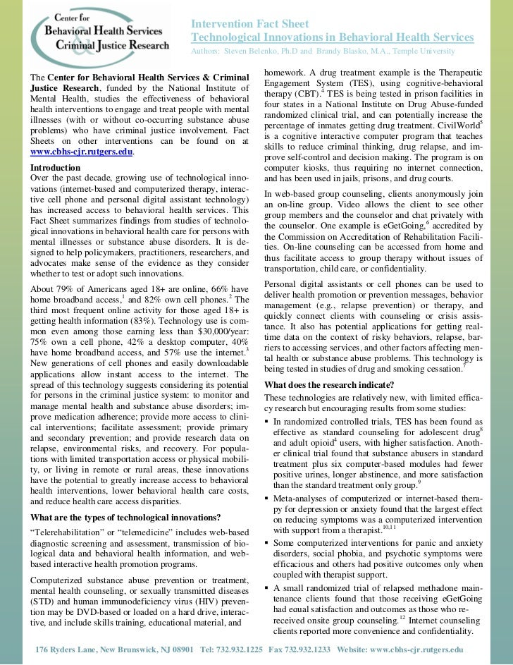 Intervention Fact Sheet                                            Technological Innovations in Behavioral Health Services...