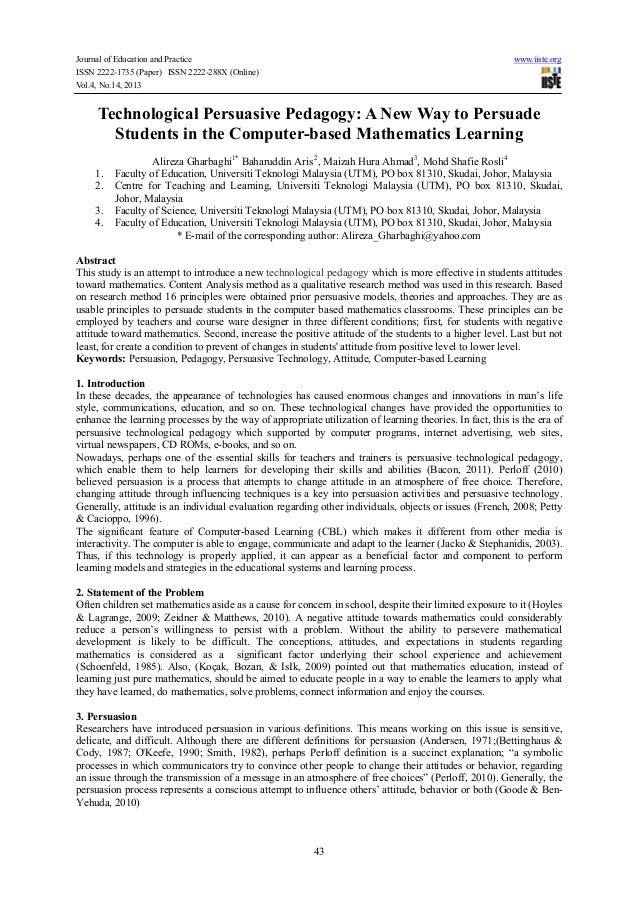 Journal of Education and Practice www.iiste.org ISSN 2222-1735 (Paper) ISSN 2222-288X (Online) Vol.4, No.14, 2013 43 Techn...