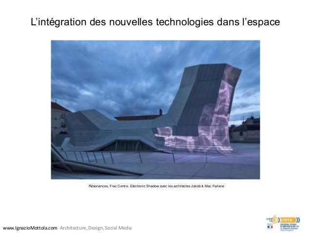 L'intégration des nouvelles technologies dans l'espace www.IgnazioMottola.com Architecture, Design, Social Media Résonance...