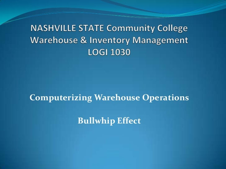 Computerizing Warehouse Operations          Bullwhip Effect