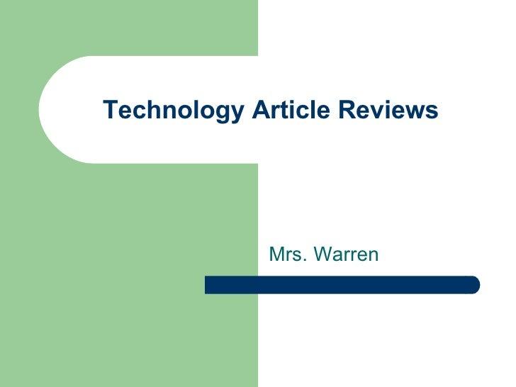 Technology Article Reviews Mrs. Warren
