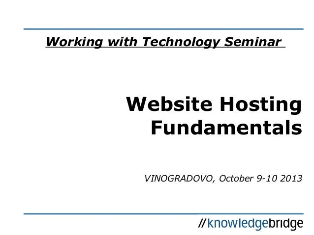 KB Seminars: Working with Technology - Hosting; 10/13