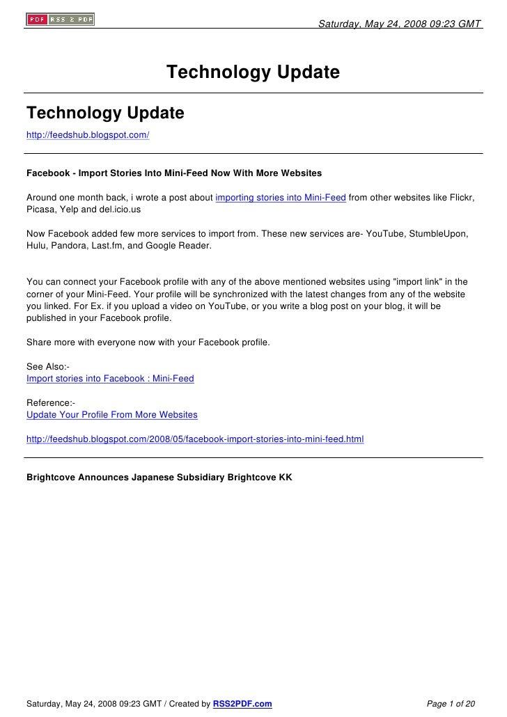 Saturday, May 24, 2008 09:23 GMT                                       Technology Update  Technology Update http://feedshu...