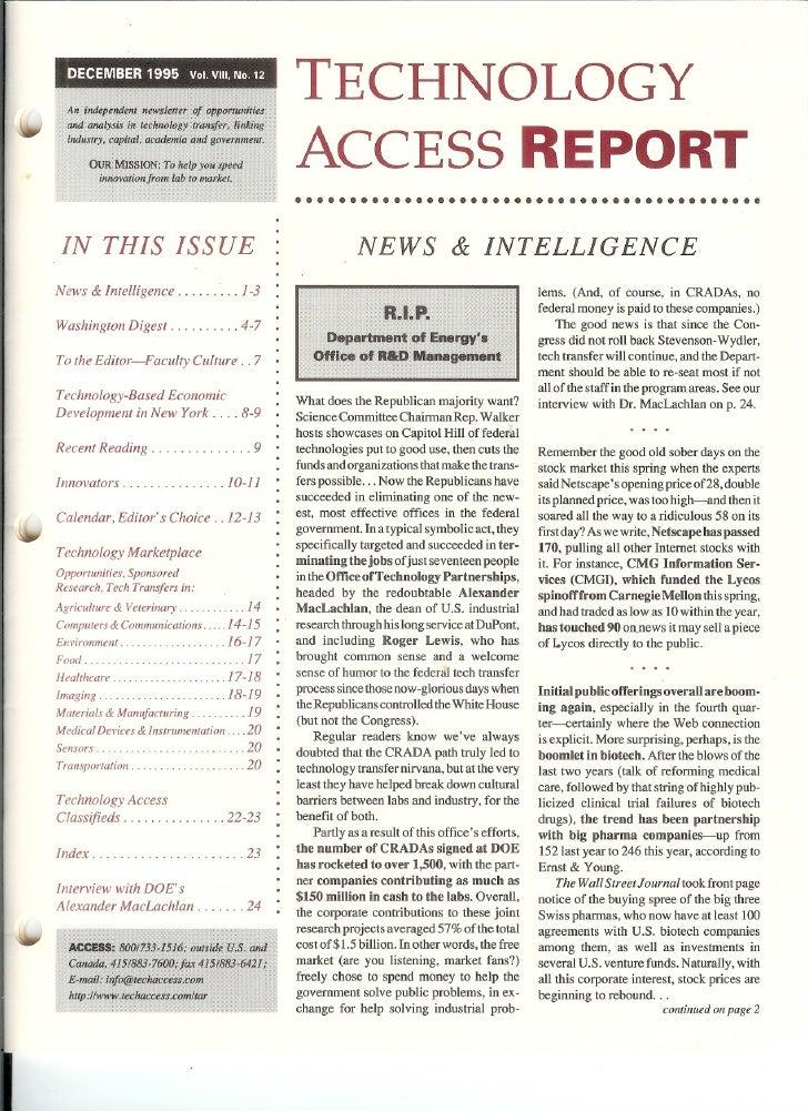 Technology Access Report Dec1995