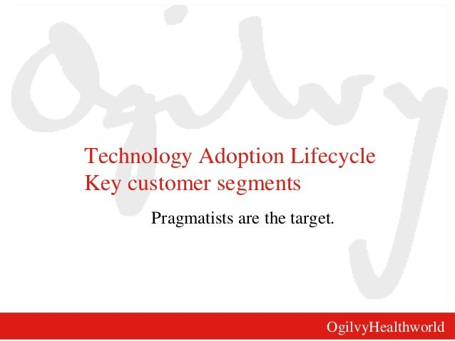 OgilvyHealthworld Technology Adoption Lifecycle Key customer segments Pragmatists are the target.