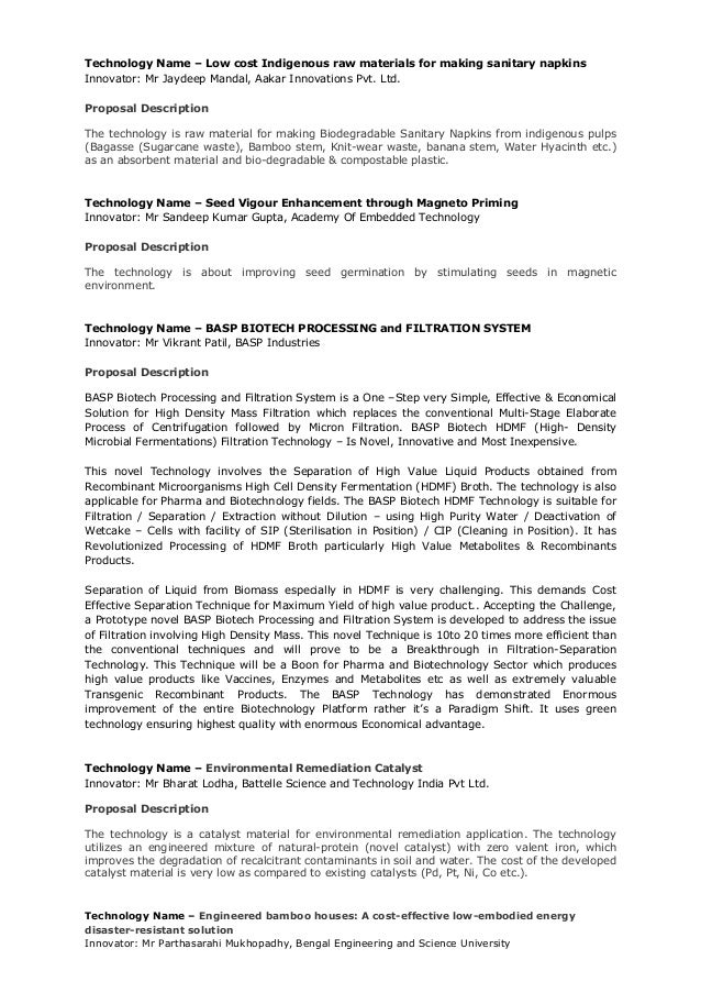 Technology brief 50_technologies By Gov. Of India