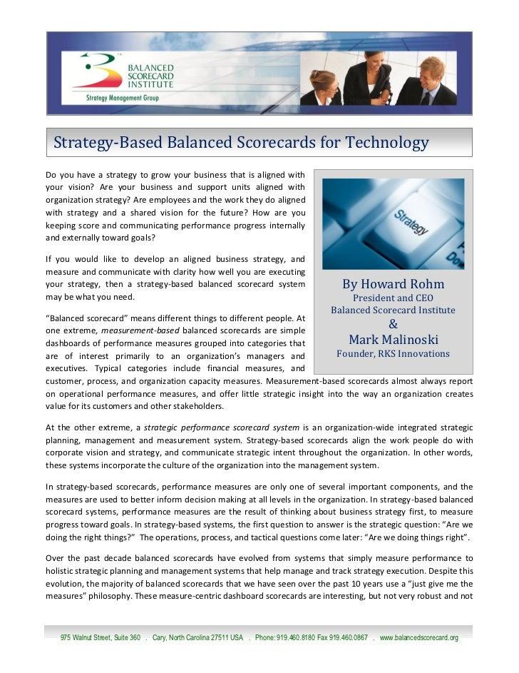 Technology Company Balanced Scorecard Systems 06222010 Final