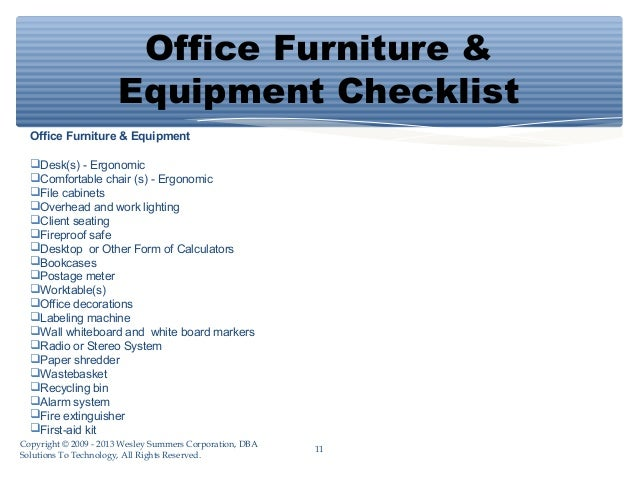 list of office equipment