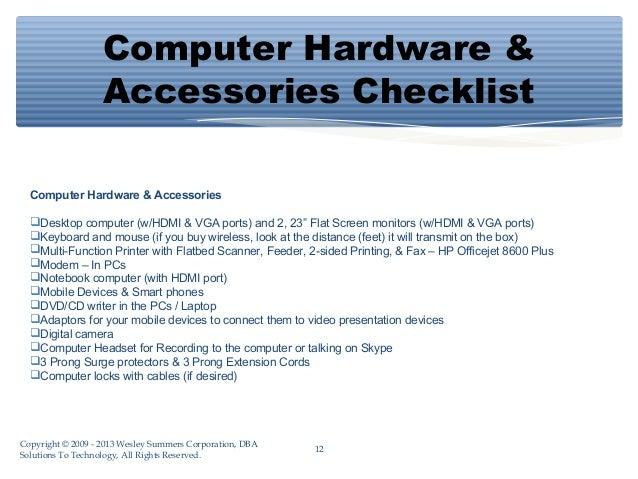 computer hardware accessories checklist computer hardware accessories