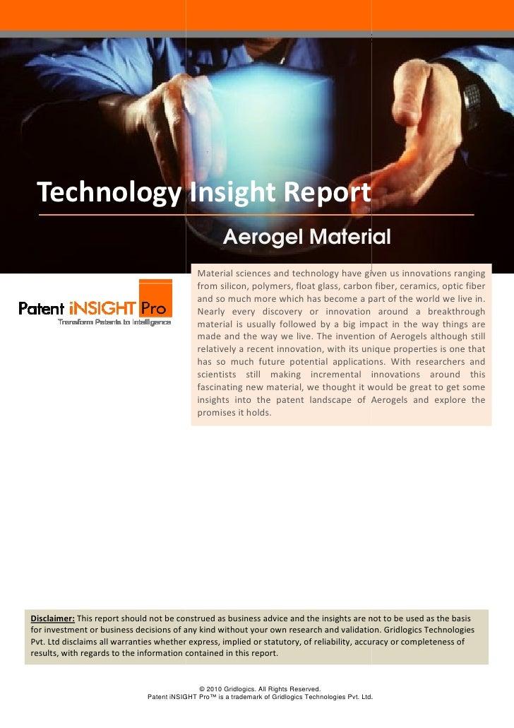 Technology Insight Report                                                     Aerogel Material                            ...