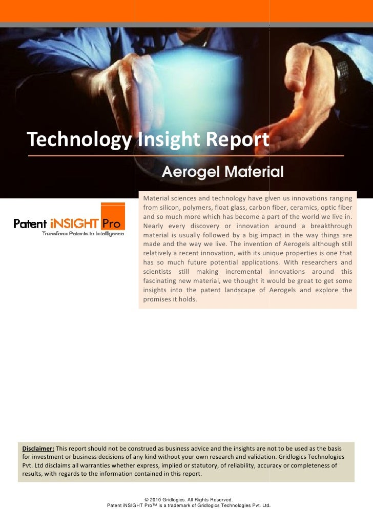 Technology Insight Report Aerogels