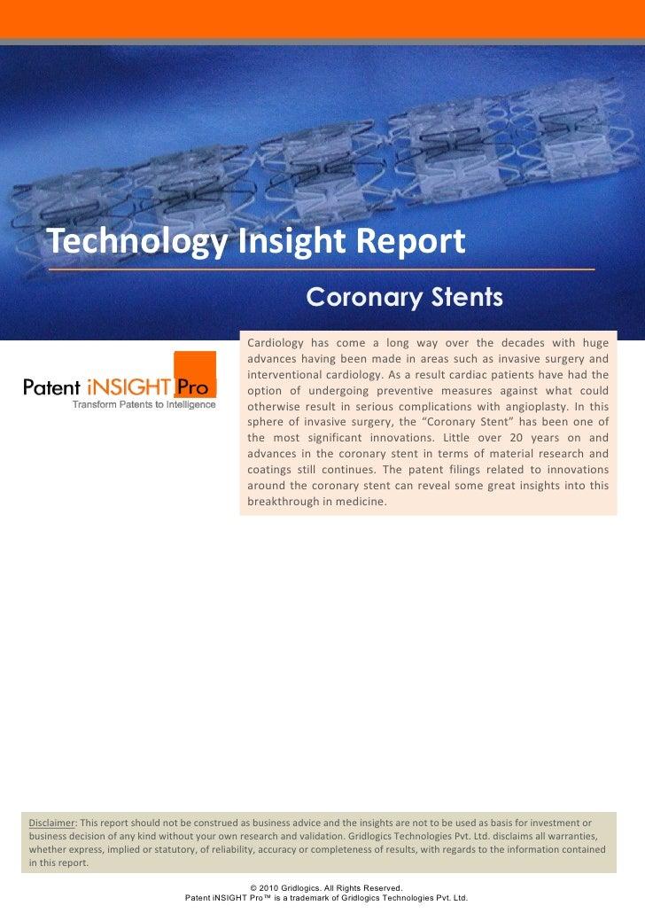 Technology Insight Report  Coronary Stents