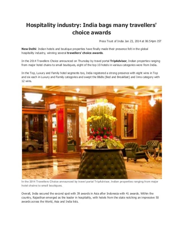 Hospitality industry: India bags many travellers' choice awards