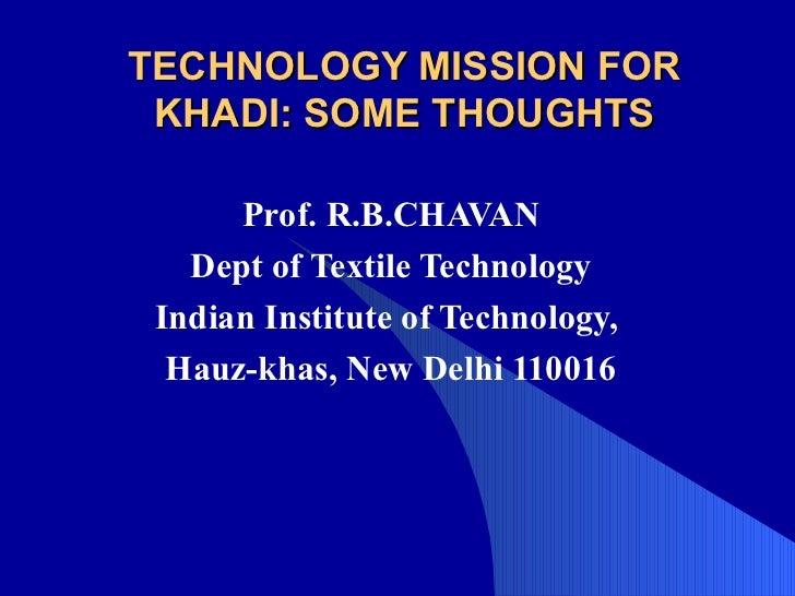 Technology mission for khadi, kvic, mumbai, 27.6, 03