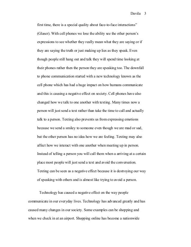 Cause and effect essay on technology