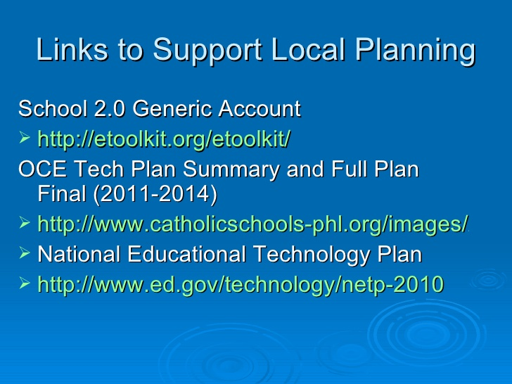 technology sample educational plans