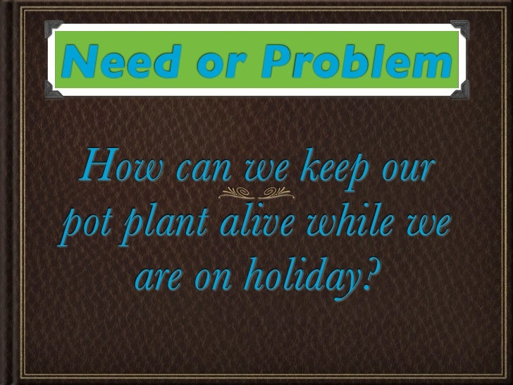 Need or Problem How can we keep ourpot plant alive while we     are on holiday?