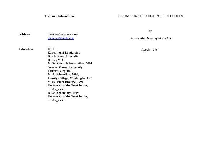 Personal Information                 TECHNOLOGY IN URBAN PUBLIC SCHOOLS                                                   ...