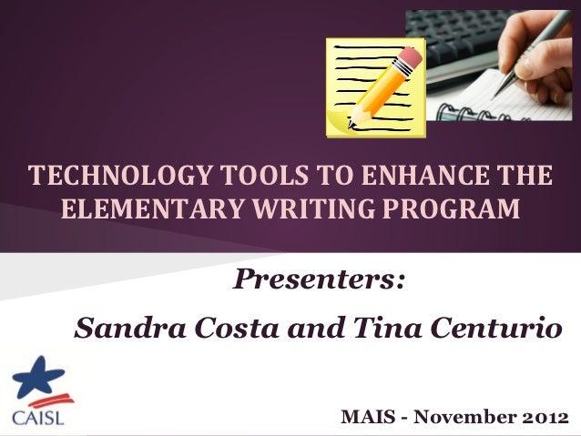 Technology tools to enhance the elementary writing program