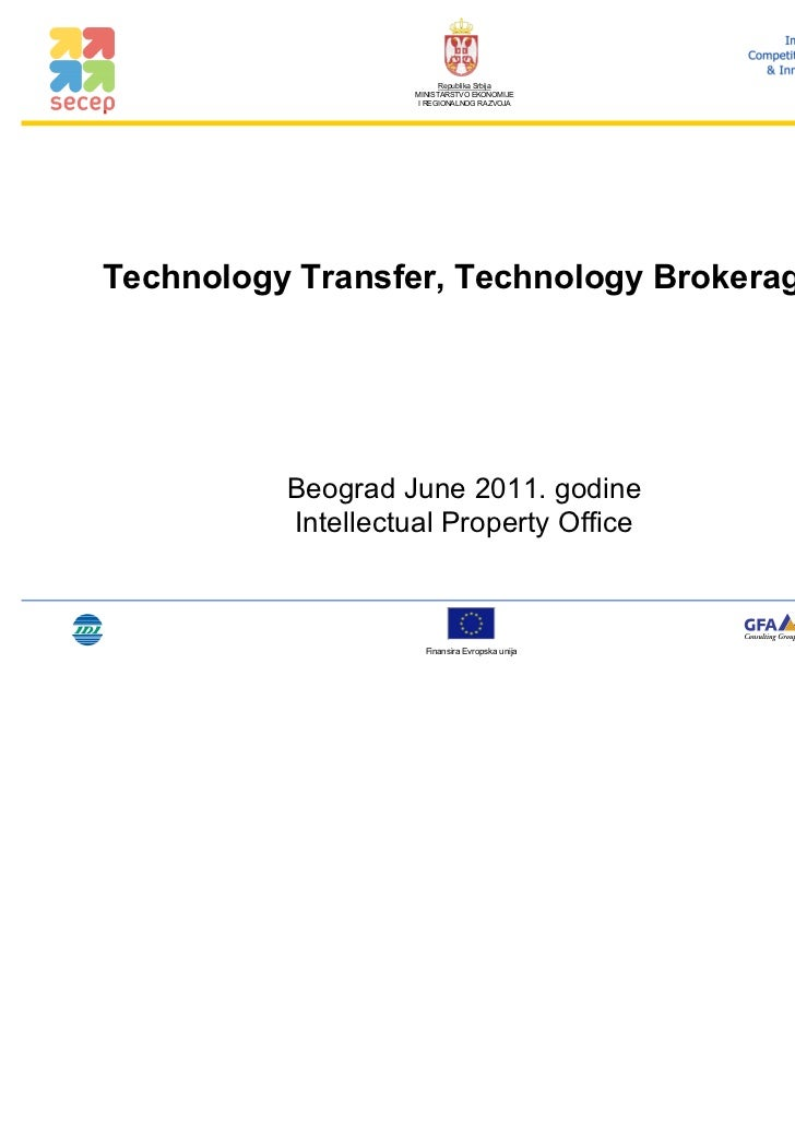 Republika Srbija                    MINISTARSTVO EKONOMIJE                    I REGIONALNOG RAZVOJATechnology Transfer, Te...