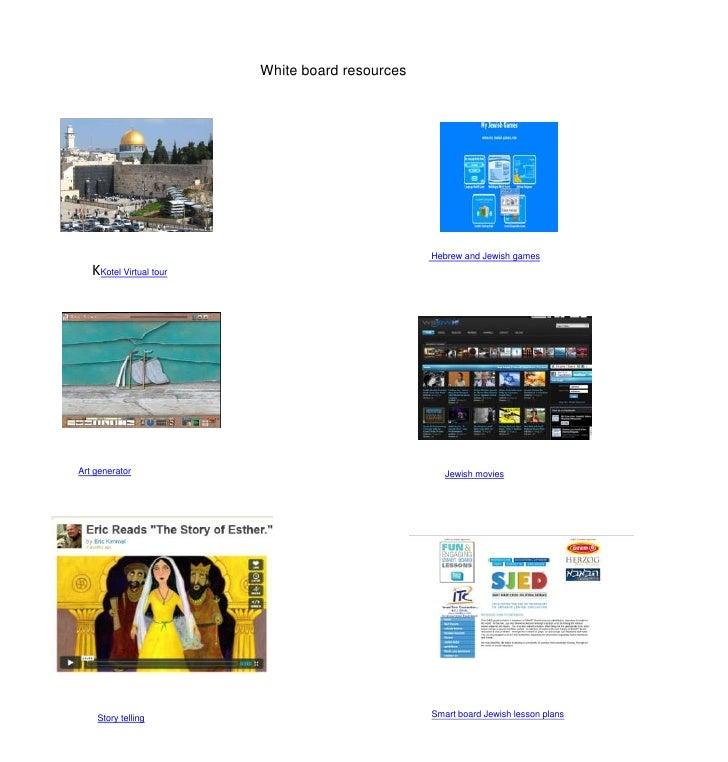 White board resources<br />KKotel Virtual tour<br /> Hebrew and Jewish games<br />Art generator<br />Jewish movies<br />Sm...