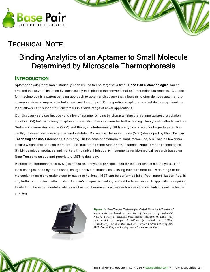 TECHNICAL NOTE    Binding Analytics of an Aptamer to Small Molecule       Determined by Microscale Thermophoresis INTRODUC...
