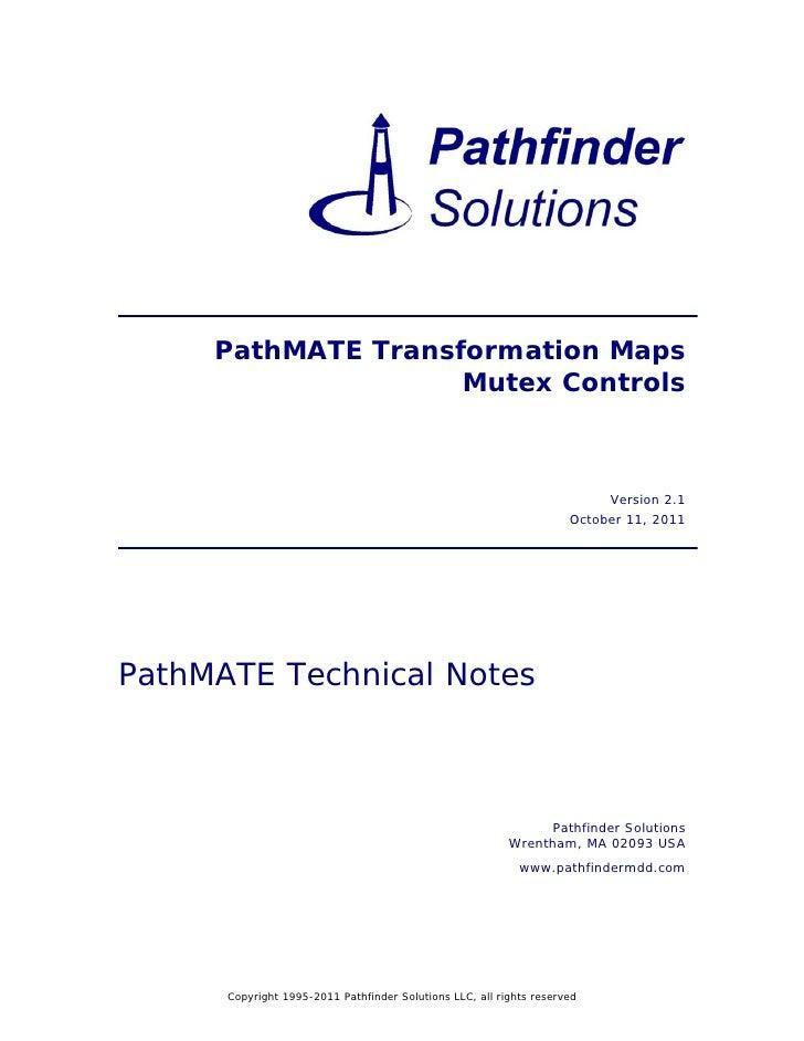 PathMATE Transformation Maps                    Mutex Controls                                                            ...