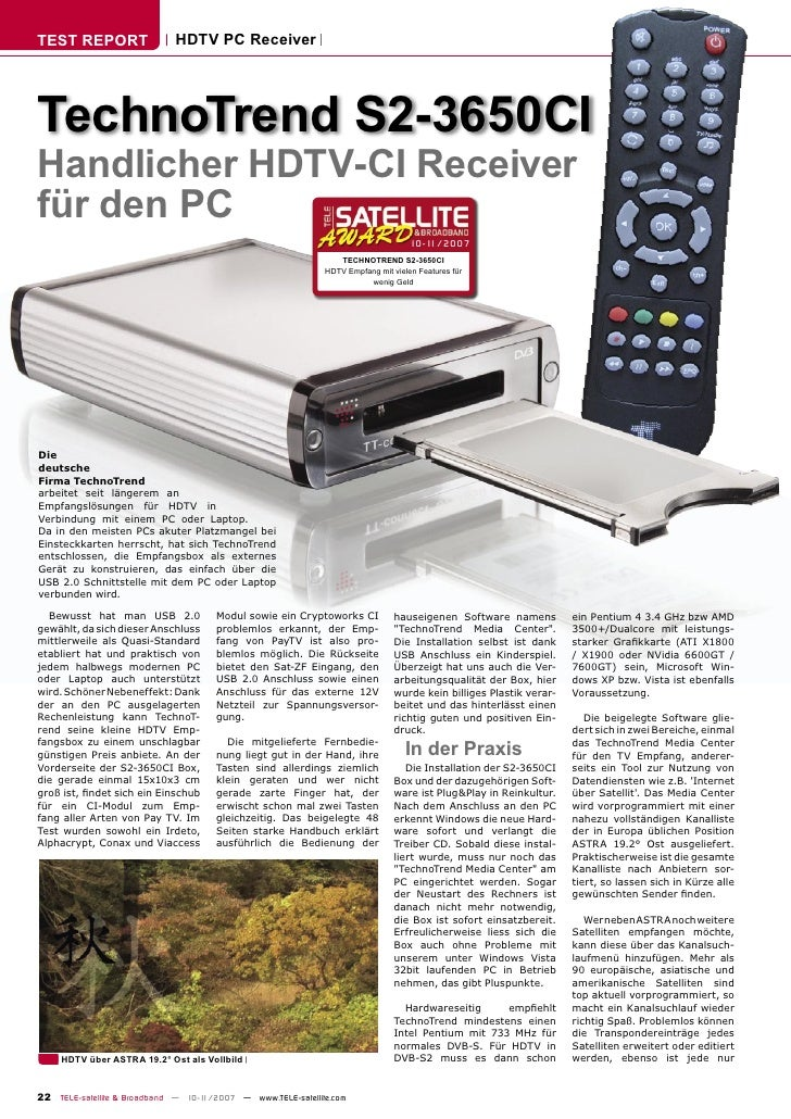 TEST REPORT                  HDTV PC Receiver     TechnoTrend S2-3650CI Handlicher HDTV-CI Receiver für den PC            ...