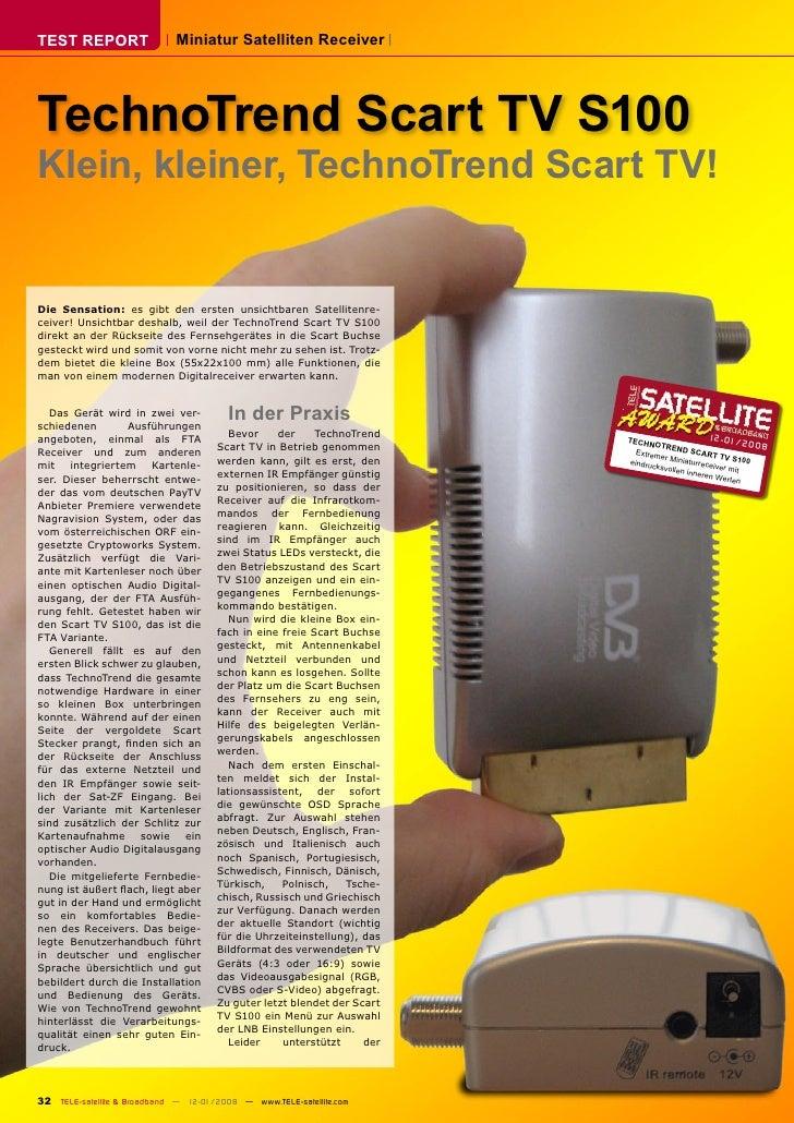 TEST REPORT                  Miniatur Satelliten Receiver     TechnoTrend Scart TV S100 Klein, kleiner, TechnoTrend Scart ...