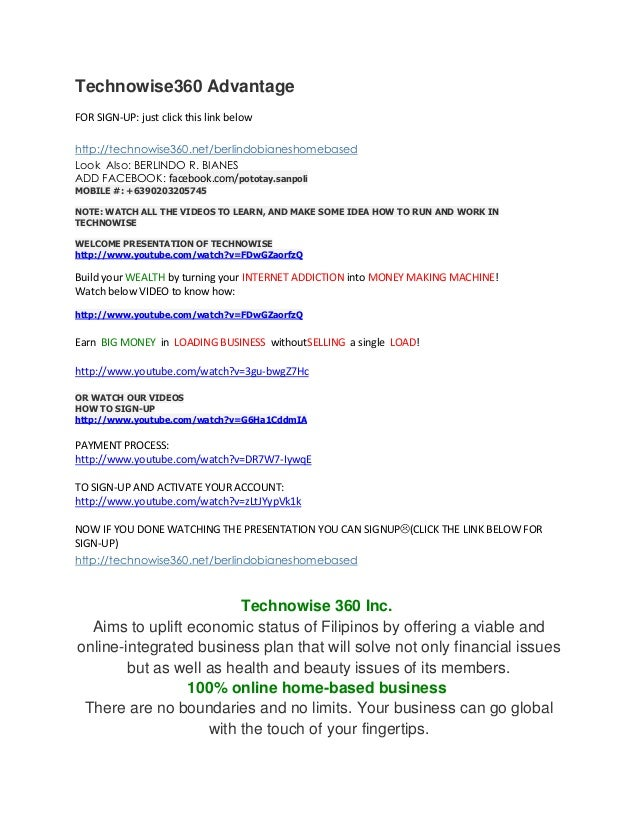 Technowise360 Advantage FOR SIGN-UP: just click this link below http://technowise360.net/berlindobianeshomebased Look Also...