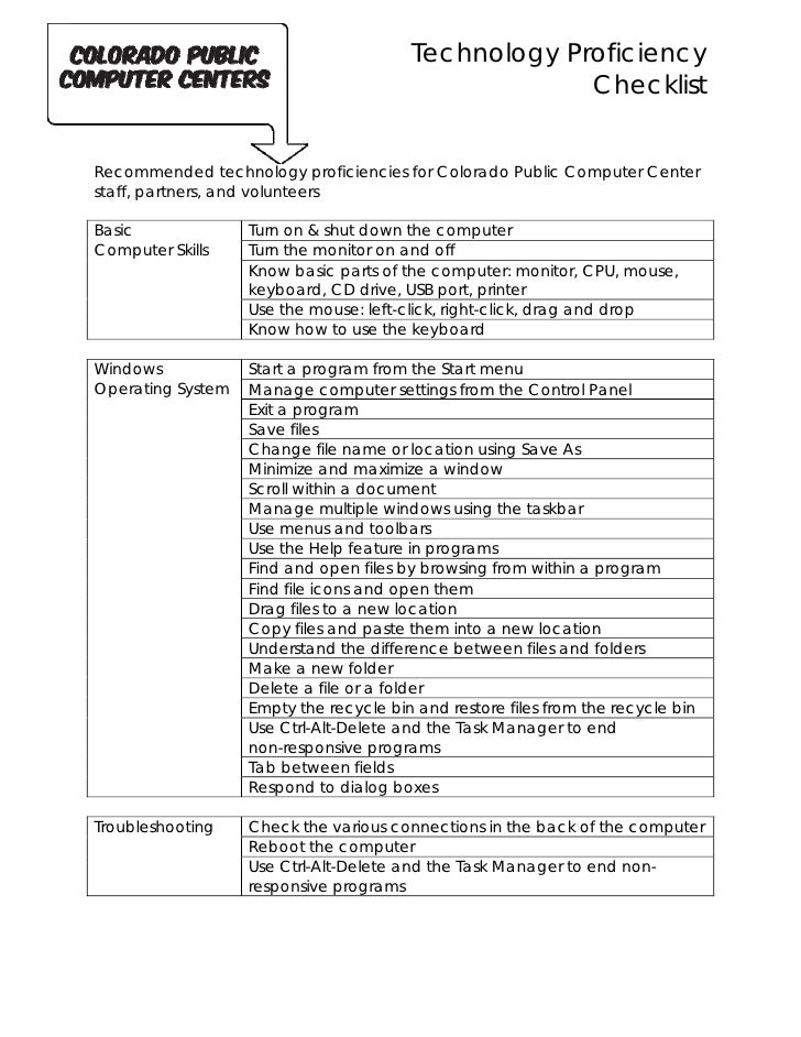 Technology Proficiency Checklist