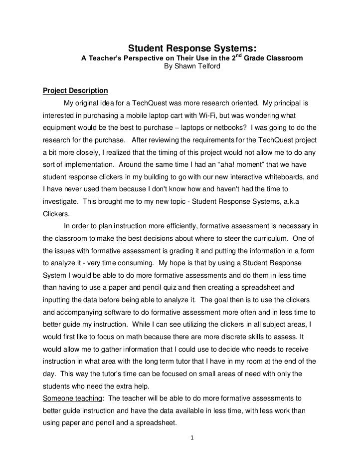 Student Response Systems:             A Teacher's Perspective on Their Use in the 2nd Grade Classroom                     ...