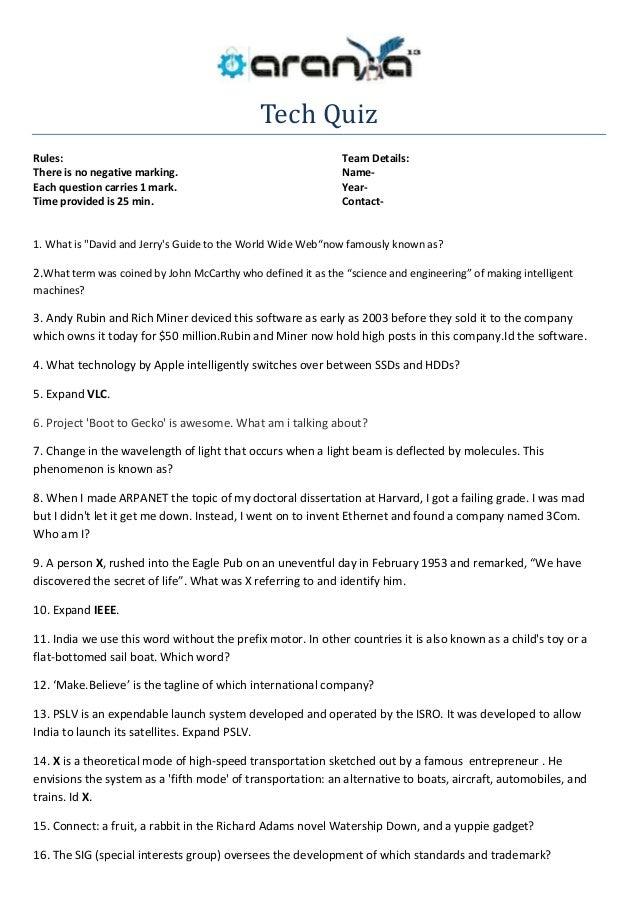 Tech Quiz Nov 19,2013
