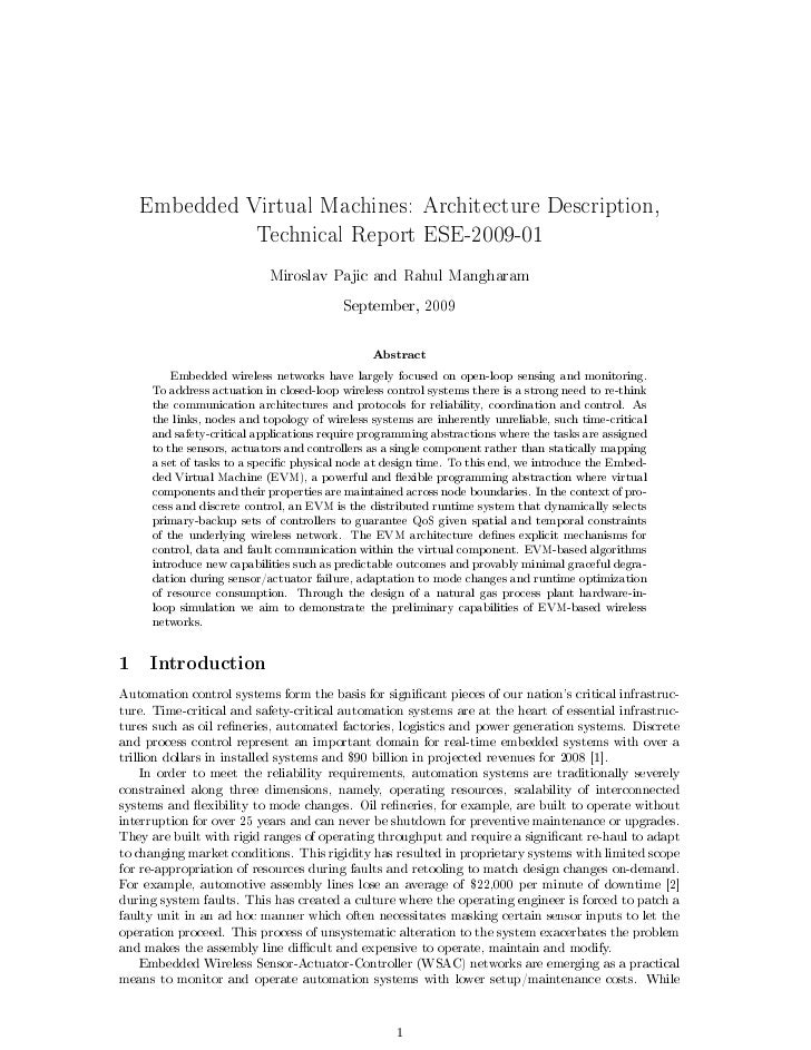 Embedded Virtual Machines: Architecture Description,                        Technical Report ESE-2009-01                  ...